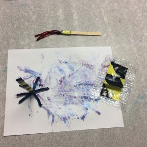 A painting made with some of the brushes I made for every classroom.