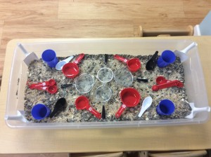 I bought materials and equipped each classroom with a dry goods sensory bin.